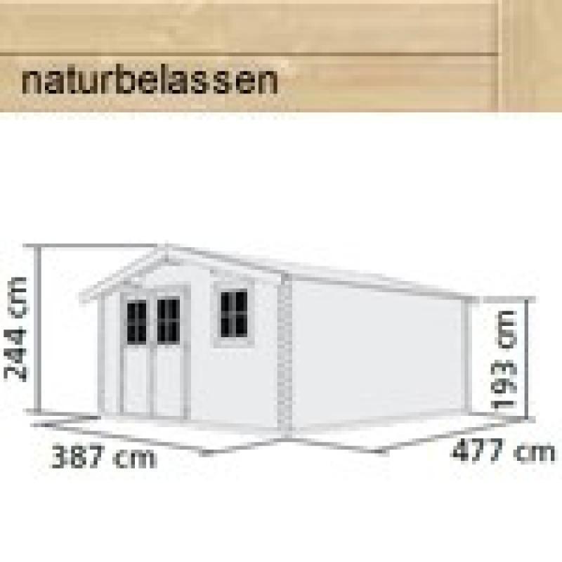 Woodfeeling Holz-Gartenhaus Felsenau 7 Satteldach 38 mm Blockbohlenhaus- natur