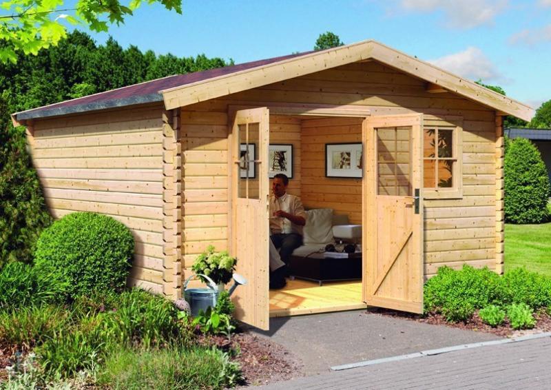 Woodfeeling Holz-Gartenhaus Felsenau 8 Satteldach 38 mm Blockbohlenhaus- natur