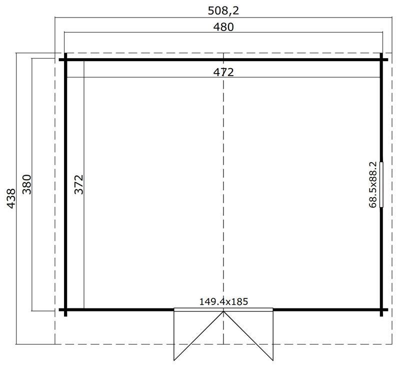 Lasita Maja Gartenhaus Blockbohlenhaus  Aktion 13 - 40 mm  - Sockelmaß: 480×380 cm