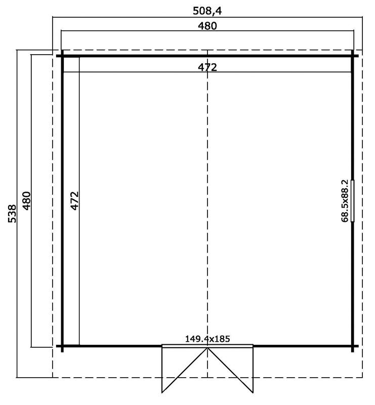 Lasita Maja Gartenhaus Blockbohlenhaus  Aktion 16 - 40 mm  - Sockelmaß: 480×480 cm