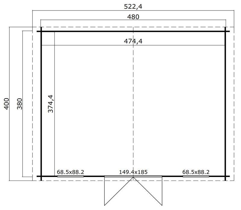 Lasita Maja Gartenhaus Blockbohlenhaus  Aktion 26 - 28 mm  - Sockelmaß: 480×380 cm