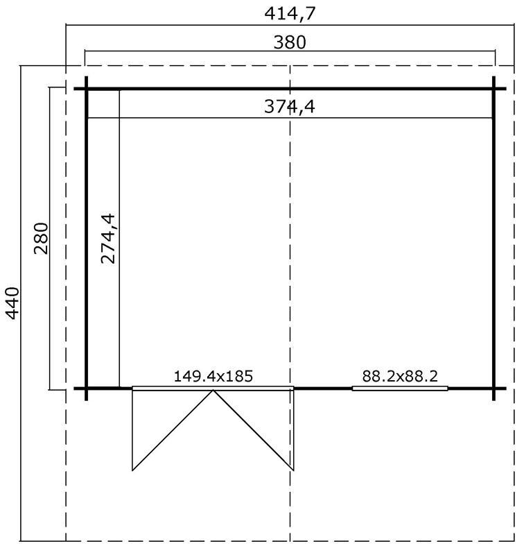 Lasita Maja Gartenhaus Blockbohlenhaus  Aktion 29 - 28 mm  - Sockelmaß: 380×280 cm