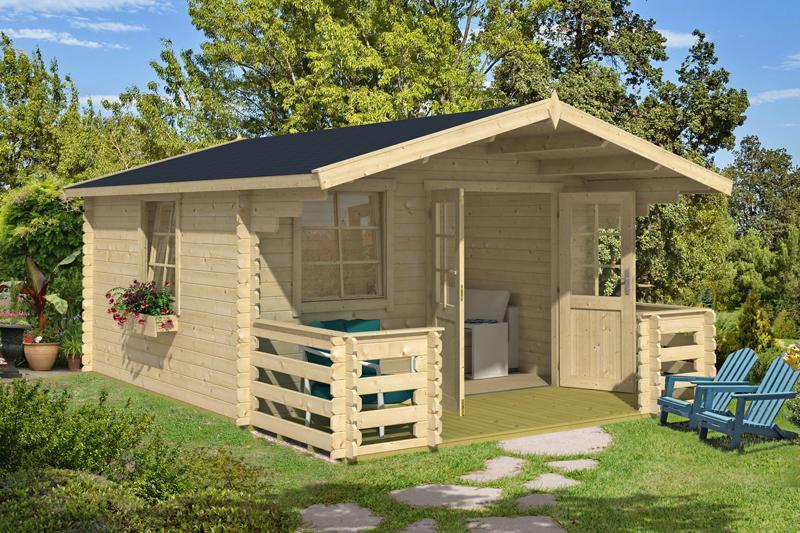 Lasita Maja Gartenhaus Blockbohlenhaus  Aktion 34 - inkl. Terrasse 140x360cm