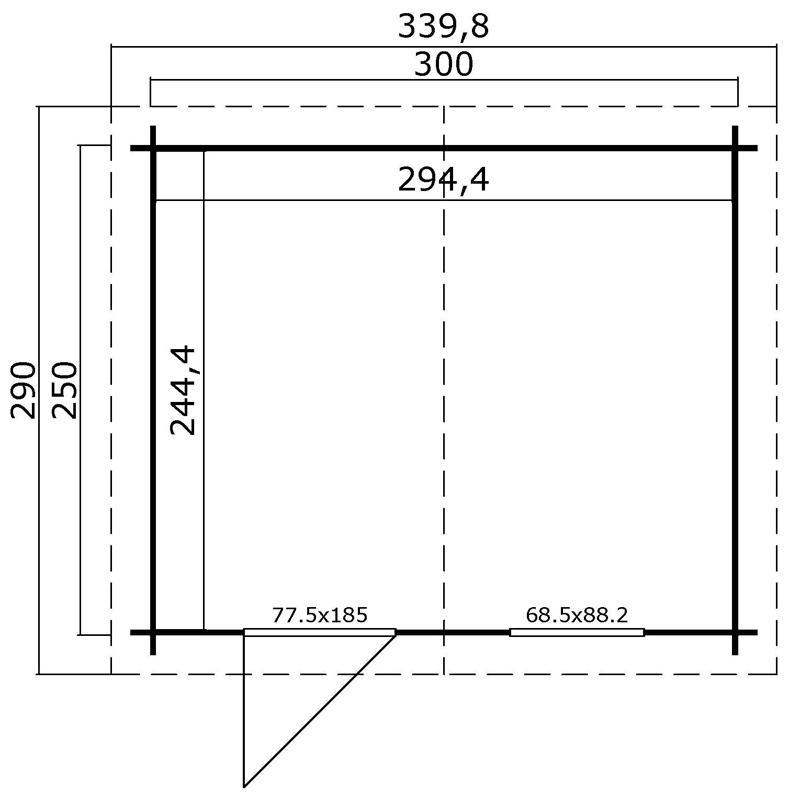 Lasita Maja Gartenhaus Blockbohlenhaus  Aktion 36 - 28 mm  - Sockelmaß: 300×250 cm