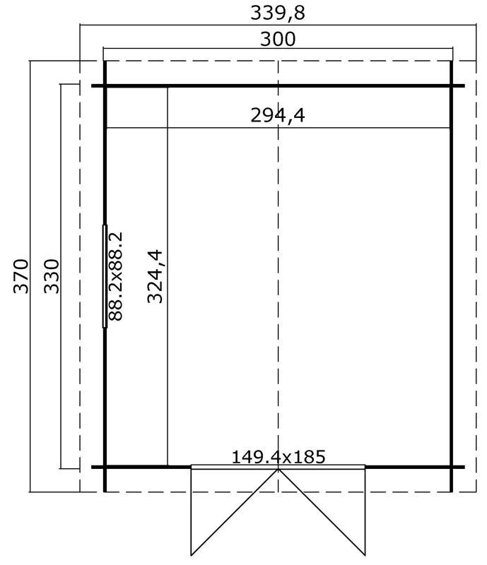 Lasita Maja Gartenhaus Blockbohlenhaus  Aktion 38 - 28 mm  - Sockelmaß: 300×330 cm