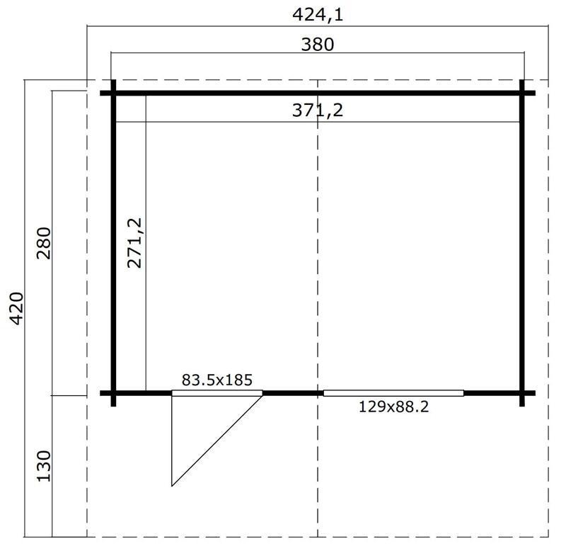 Lasita Maja Gartenhaus Blockbohlenhaus  Aktion 4 - 44 mm  - Sockelmaß: 380×280 cm