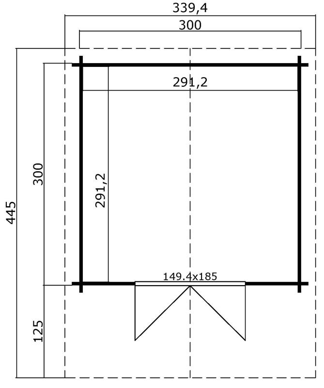 Lasita Maja Gartenhaus Blockbohlenhaus  Aktion 7 - 44 mm  - Sockelmaß: 300×300 cm
