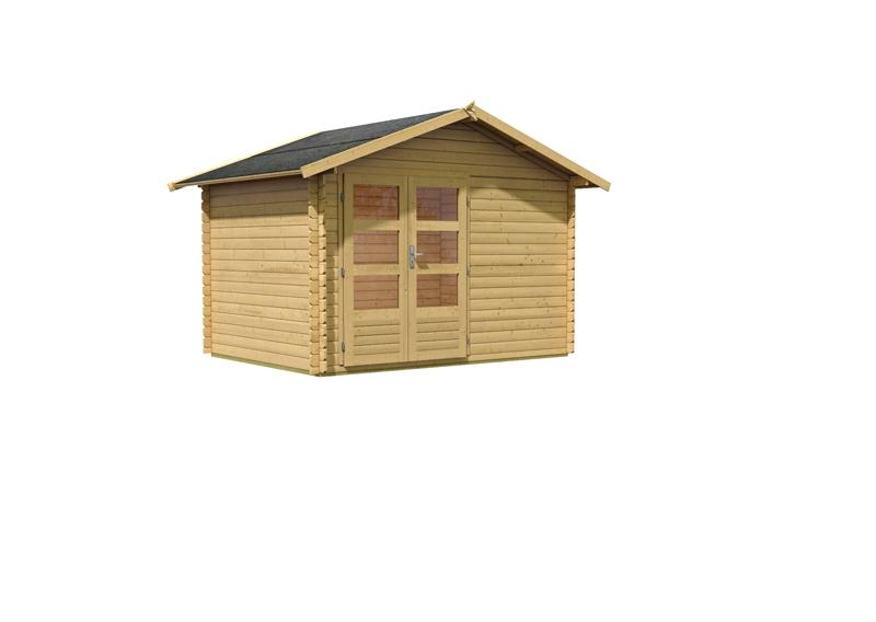 Karibu Holz-Gartenhaus Berne 5 Satteldach 28 mm Blockbohle - natur