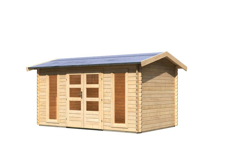 Karibu Holz-Gartenhaus Hasselberg Satteldach 28 mm Massiv - natur