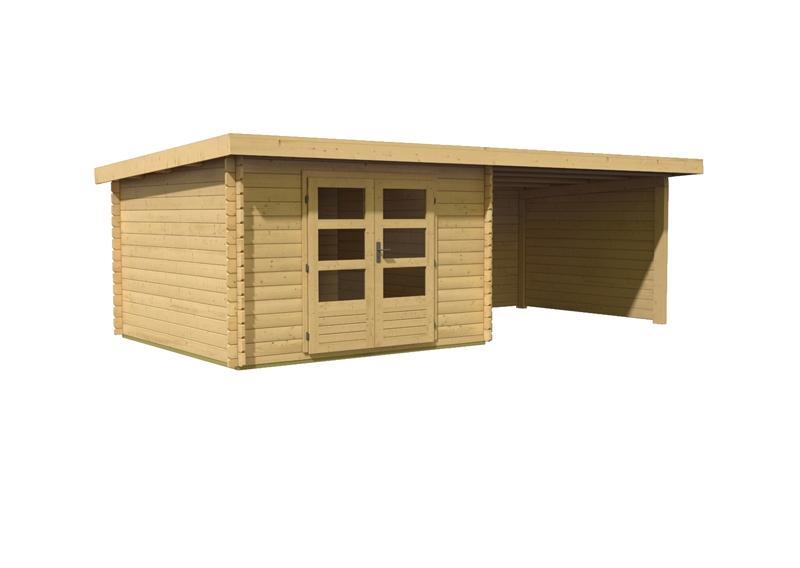 Woodfeeling Gartenhaus Pultdach Bastrup 5 - 28 mm mit 3 m Schleppdach inkl. Seiten- und Rückwand
