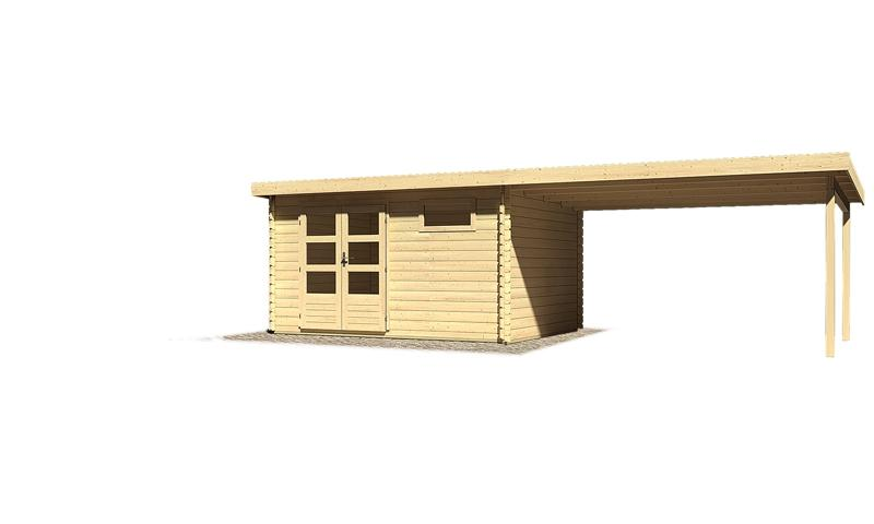 Sonderangebot: Woodfeeling Gartenhaus: Bastrup 8 im Set mit Schleppdach 4 m breit - 28 mm Blockbohlenhaus mit Pultdach  - naturbelassen
