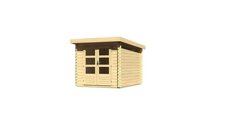 Woodfeeling Holz-Gartenhaus Pultdach Bastrup 4 - 28 mm Blockbohlen - naturbelassen