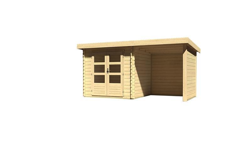 Sonderangebot: Woodfeeling Holz-Gartenhaus: Bastrup 2 im Set mit Schleppdach 2 m breit, 28 mm Seiten - und Rückwand - 28 mm Blockbohlenhaus mit Pultdach  - naturbelassen