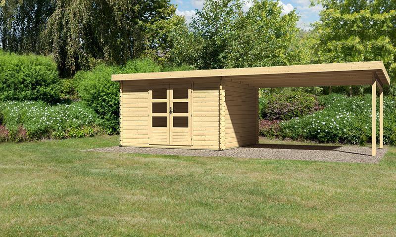 sonderangebot woodfeeling gartenhaus bastrup 7 im set mit schleppdach 4 m breit 28 mm. Black Bedroom Furniture Sets. Home Design Ideas