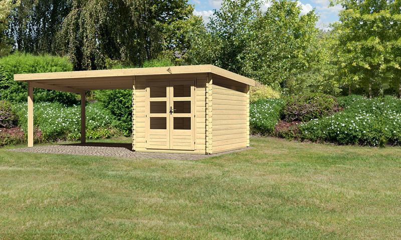 Sonderangebot: Woodfeeling Gartenhaus: Bastrup 4 im Set mit Schleppdach 4 m breit - 28 mm Blockbohlenhaus mit Pultdach  - naturbelassen