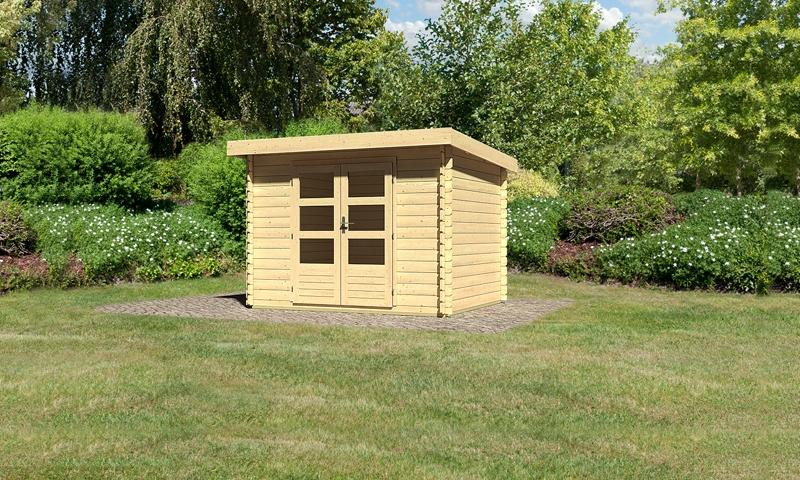 Woodfeeling Holz-Gartenhaus Pultdach Bastrup 3 - 28 mm Blockbohlen - naturbelassen