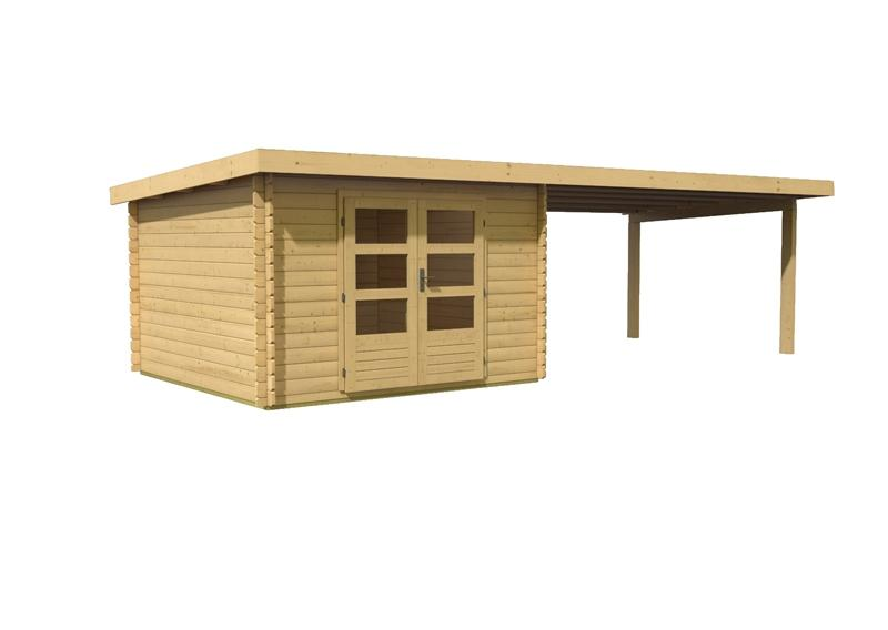 woodfeeling gartenhaus pultdach bastrup 5 28 mm mit 4 m schleppdach. Black Bedroom Furniture Sets. Home Design Ideas