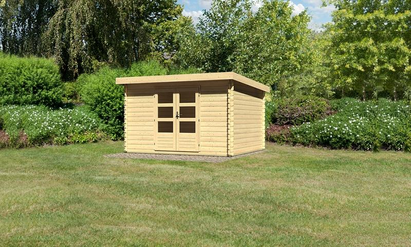 Woodfeeling Holz-Gartenhaus Pultdach Bastrup 7 - 28 mm Blockbohlenhaus - natur