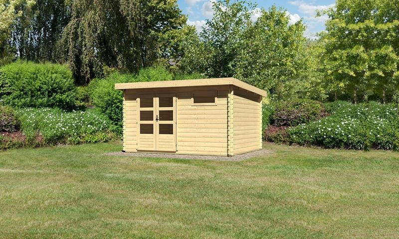 Woodfeeling Holz-Gartenhaus: Bastrup 8 - 28 mm Blockbohlenhaus mit Pultdach  - naturbelassen