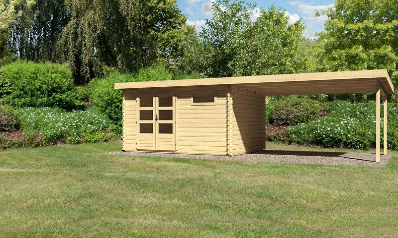 Sonderangebot: Woodfeeling Holz-Gartenhaus: Bastrup 8 im Set mit Schleppdach 4 m breit - 28 mm Blockbohlenhaus mit Pultdach  - naturbelassen