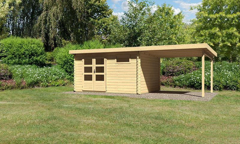 Sonderangebot: Woodfeeling Holz-Gartenhaus: Bastrup 8 im Set mit Schleppdach 3 m breit - 28 mm Blockbohlenhaus mit Pultdach  - naturbelassen