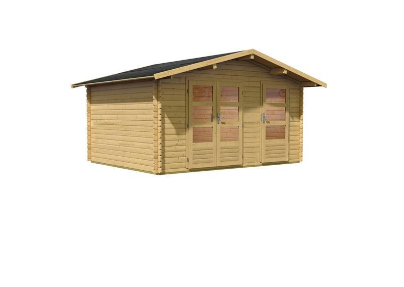 Woodfeeling Gartenhaus Radur 1 Satteldach 28 mm Blockbohlenhaus Mittelwandhaus- natur