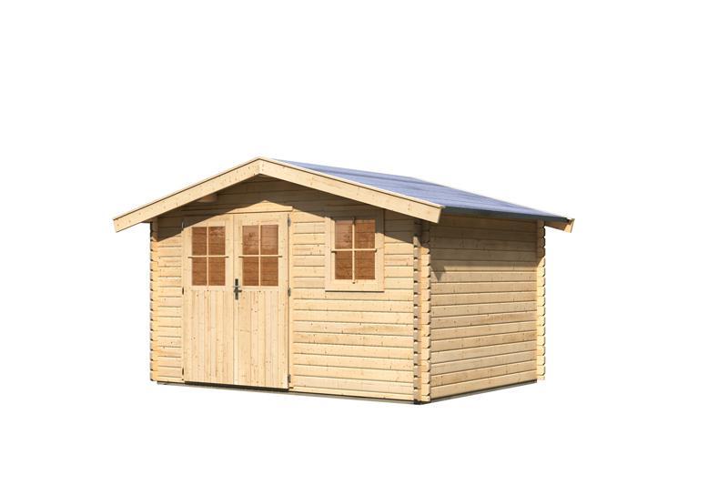 Woodfeeling Holz-Gartenhaus Felsenau 4 Satteldach 38 mm Blockbohlenhaus- natur