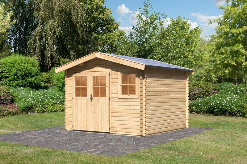 woodfeeling gartenhaus felsenau 3 satteldach 38 mm blockbohlenhaus natur. Black Bedroom Furniture Sets. Home Design Ideas