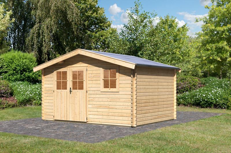 Woodfeeling Holz-Gartenhaus Felsenau 5 Satteldach 38 mm Blockbohlenhaus- natur