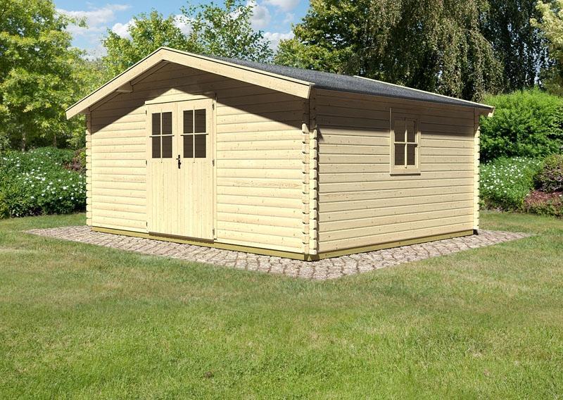 Woodfeeling Holz-Gartenhaus: Blockbohlenhaus Mühlheim 8 - 38 mm Blockbohlenhaus  - naturbelassen