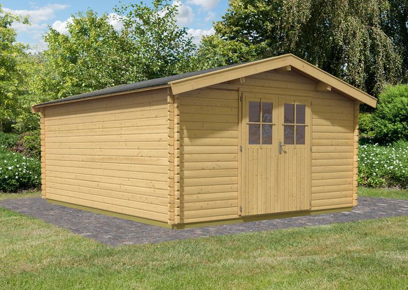 Woodfeeling Holz-Gartenhaus: Blockbohlenhaus Mühlheim 6 - 38 mm Blockbohlenhaus  - naturbelassen