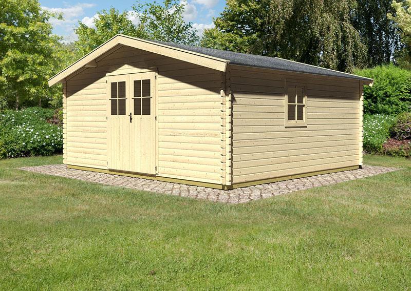 Woodfeeling Holz-Gartenhaus: Blockbohlenhaus Mühlheim 9 - 38 mm Blockbohlenhaus  - naturbelassen