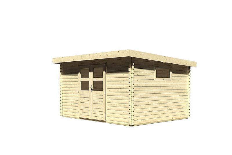 Woodfeeling Holz-Gartenhaus: Blockbohlenhaus Torgau 5 - 38 mm Blockbohlenhaus Flachdachhaus  - naturbelassen