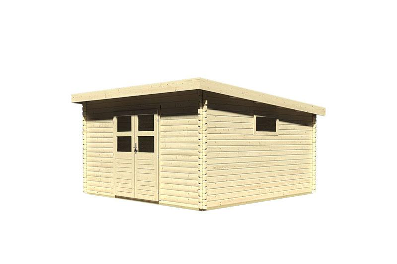 Woodfeeling Holz-Gartenhaus: Blockbohlenhaus Torgau 6 - 38 mm Blockbohlenhaus Flachdachhaus  - naturbelassen