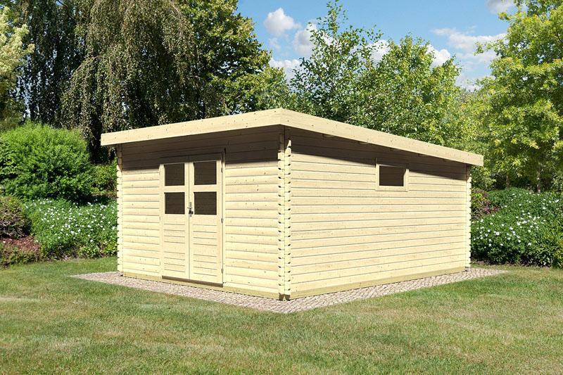 Woodfeeling Holz-Gartenhaus: Blockbohlenhaus Torgau 7 - 38 mm Blockbohlenhaus Flachdachhaus  - naturbelassen