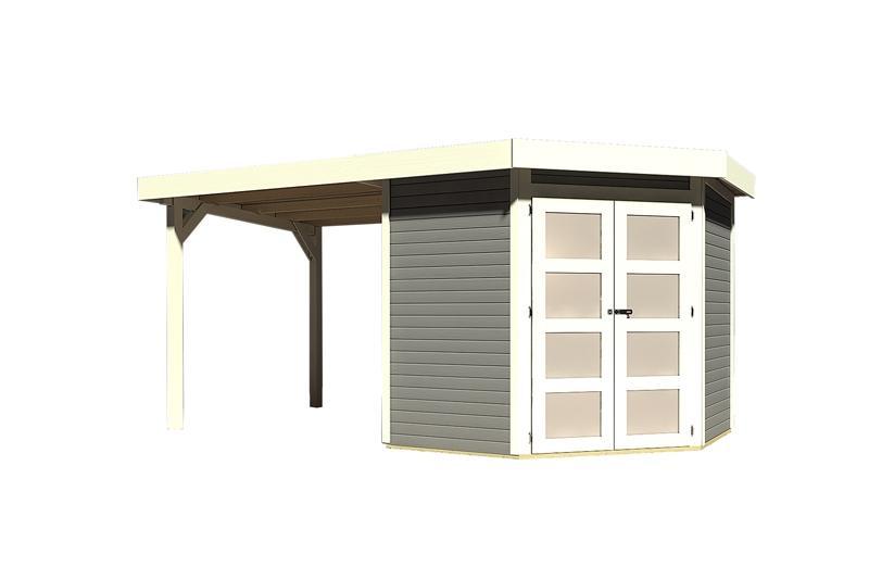 Sonderangebot: Karibu Holz-Gartenhaus Goldendorf 3  im Set mit Anbaudach  2,20 m Breit - 19 mm Flachdach Schraub- Stecksystem - terragrau