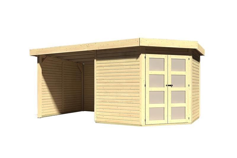 Sonderangebot: Karibu Holz-Gartenhaus Goldendorf 5  im Set mit Anbaudach  2,20 m Breit und 19 mm Seiten- und Rückwand - 19 mm Flachdach Schraub- Stecksystem - naturbelassen