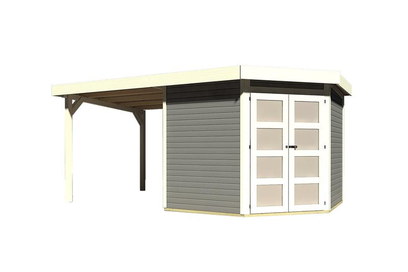 Sonderangebot: Karibu Holz-Gartenhaus Goldendorf 5  im Set mit Anbaudach  2,20 m Breit - 19 mm Flachdach Schraub- Stecksystem - terragrau