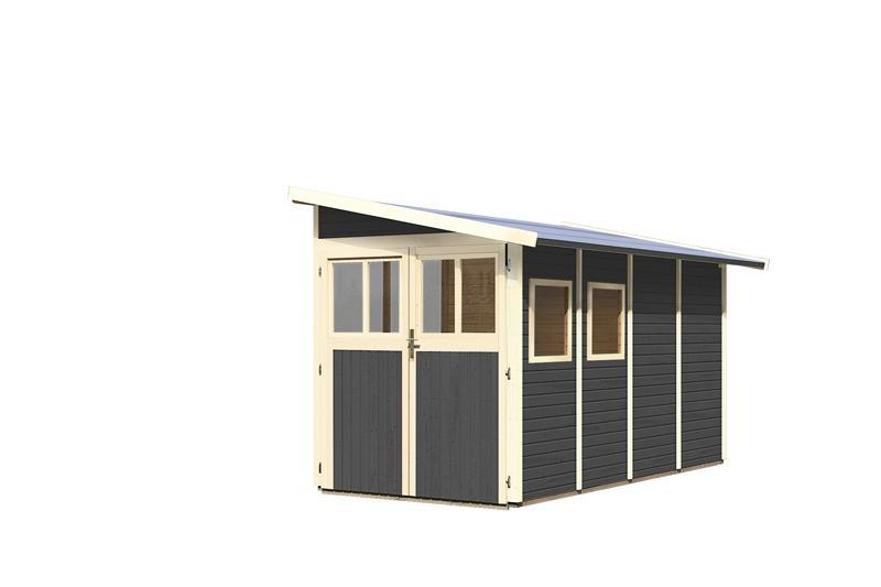 Karibu Gartenhaus Wandlitz 4 Anlehnhaus - 19 mm Wandstärke( dreiwandig)  - terragrau