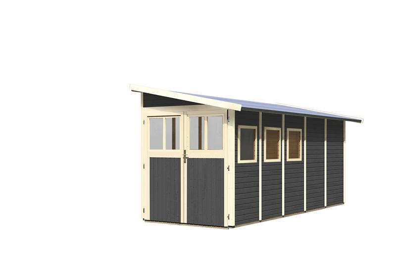 Karibu Gartenhaus Wandlitz 5 Anlehnhaus - 19 mm Wandstärke( dreiwandig)  - terragrau