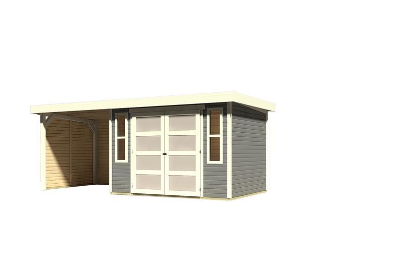 Sonderangebot: Karibu Gartenhaus Mühlendorf 4  im Set mit Anbaudach 2,20 m Breite und 19 mm Seiten- und Rückwand - terragrau