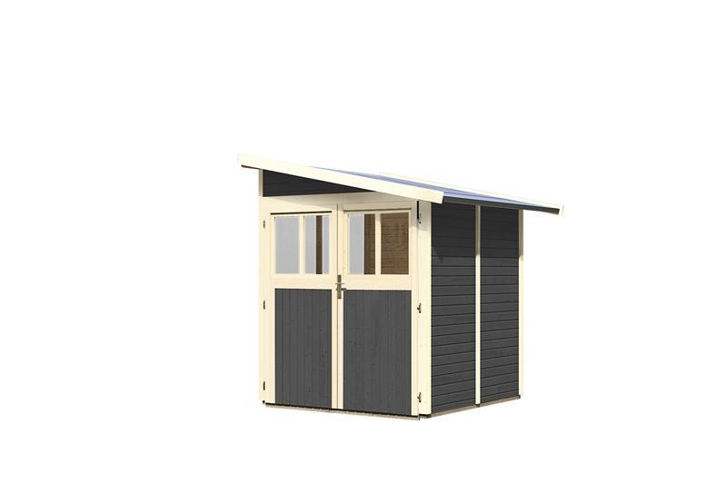 Karibu Gartenhaus Wandlitz 2 Anlehnhaus - 19 mm Wandstärke( dreiwandig)  - terragrau