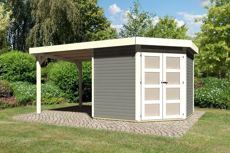 Sonderangebot: Karibu Gartenhaus Goldendorf 5  im Set mit Anbaudach  2,20 m Breit - 19 mm Flachdach Schraub- Stecksystem - terragrau