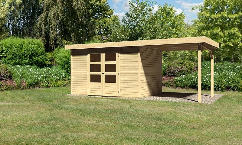Woodfeeling Gartenhaus Askola 4 Pultdach 19 mm System inkl. Schleppdach - natur