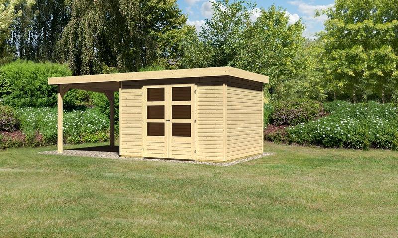 Woodfeeling Gartenhaus Askola 5 Pultdach 19 mm System inkl. Schleppdach - natur