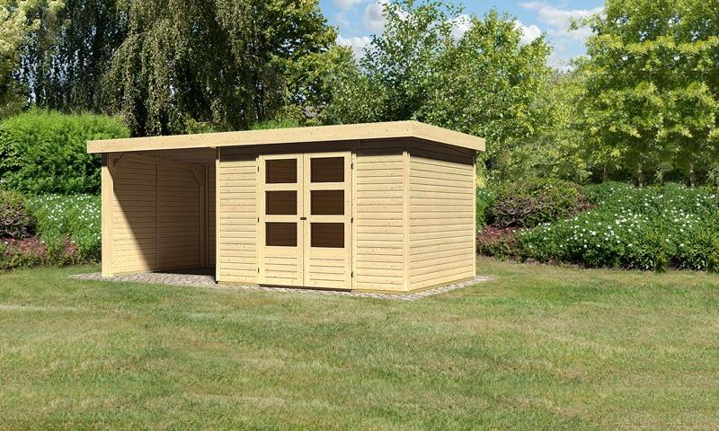 Sonderangebot: Woodfeeling Gartenhaus: Askola 5 im Set mitAnbaudach und 19 mm Seiten- Rückwand - 19 mm Flachdach Schraub- Stecksystem  - naturbelassen