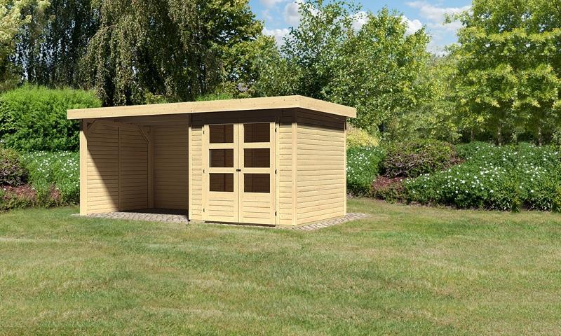 Sonderangebot: Woodfeeling Gartenhaus: Askola 2 im Set mit Anbaudach und 19 mm Seiten- Rückwand - 19 mm Flachdach Schraub- Stecksystem  - naturbelassen