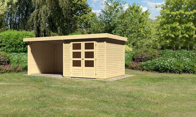 Sonderangebot: Woodfeeling Gartenhaus: Askola 3,5 im Set mit Anbaudach und 19 mm Seiten- Rückwand - 19 mm Flachdach Schraub- Stecksystem  - naturbelassen