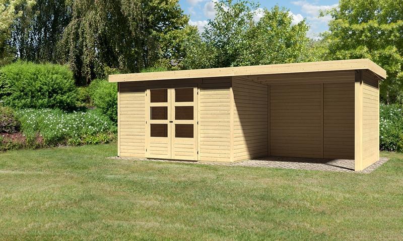 Sonderangebot: Woodfeeling Gartenhaus: Askola 4 im Set mit Anbaudach und 19 mm Seiten- Rückwand - 19 mm Flachdach Schraub- Stecksystem  - naturbelassen