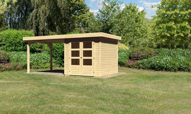 Sonderangebot: Woodfeeling Holz-Gartenhaus: Askola 2 im Set mit Anbaudach 2,60 m Breite - 19 mm Flachdach Schraub- Stecksystem  - naturbelassen